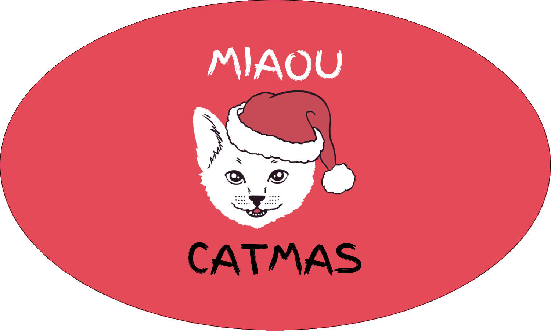 """1½"""" x 2½"""" Étiquettes ovales - Chat de Noël"""