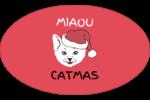 Chat de Noël Étiquettes ovales - gabarit prédéfini. <br/>Utilisez notre logiciel Avery Design & Print Online pour personnaliser facilement la conception.