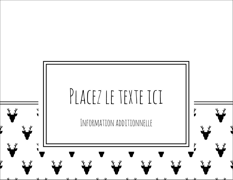 """4¼"""" X 5½"""" Carte Postale - Motif de renne noir et blanc"""
