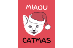 Chat de Noël Carte Postale - gabarit prédéfini. <br/>Utilisez notre logiciel Avery Design & Print Online pour personnaliser facilement la conception.