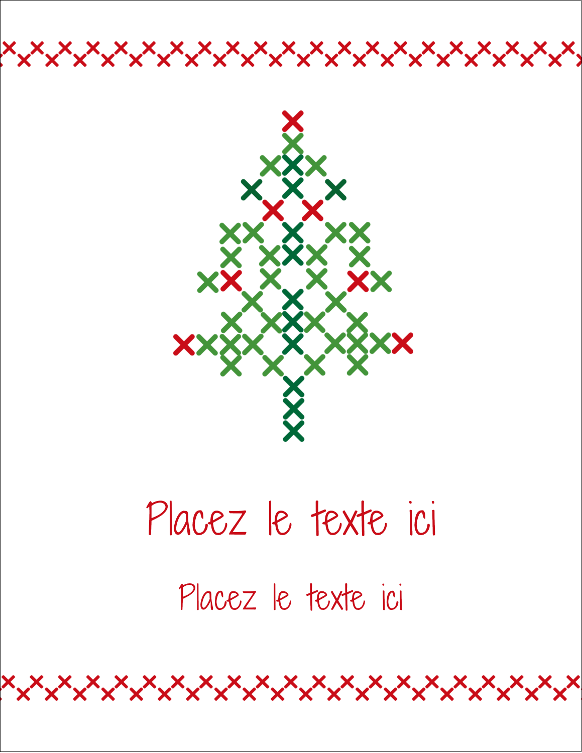 "5½"" x 4¼"" Carte Postale - Sapin en point de croix"