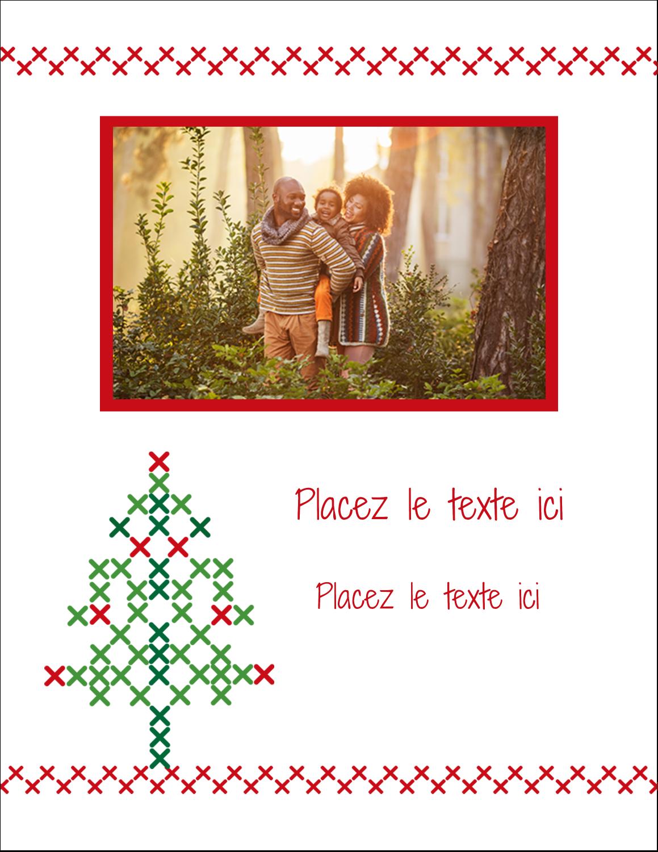 """5½"""" x 4¼"""" Carte Postale - Sapin en point de croix"""