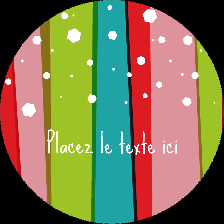 """3"""" Diameter Étiquettes rondes - Rayures de Noël rétro"""
