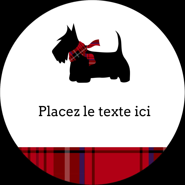 """3"""" Diameter Étiquettes rondes - Terrier écossais"""