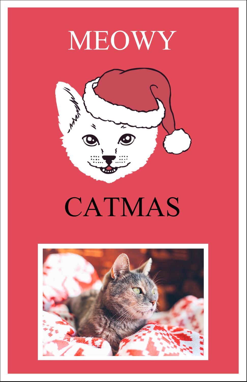 "5"" x 8½"" Half Fold Card - Catmas Meowy"