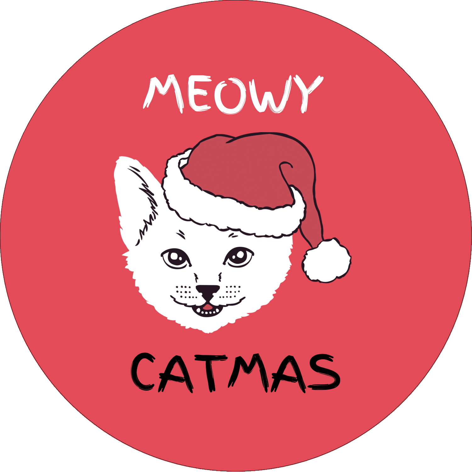 "1½"" Round Label - Catmas Meowy"