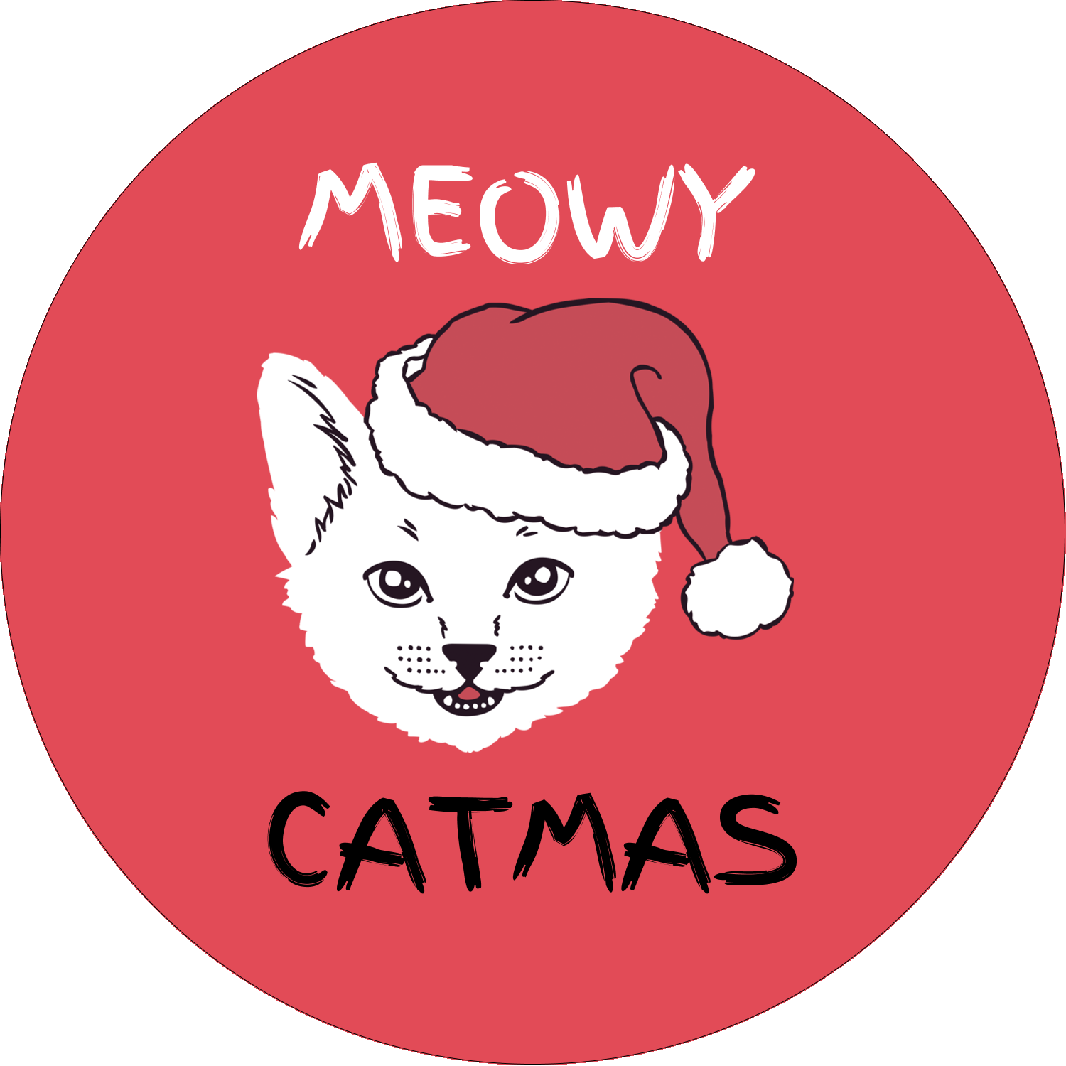 "2½"" Round Label - Catmas Meowy"