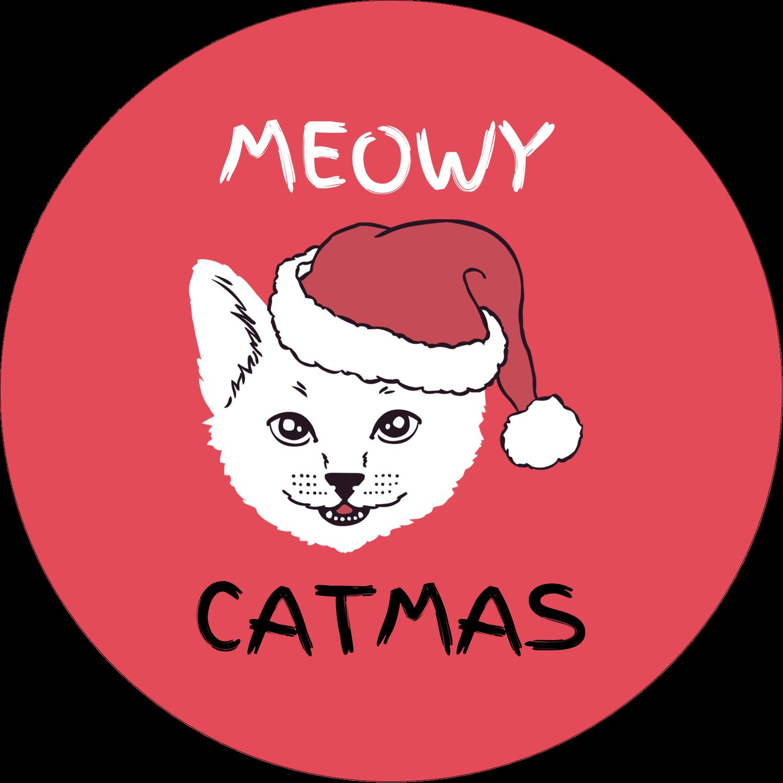 "2½"" Round Label - Catmas Meowy"