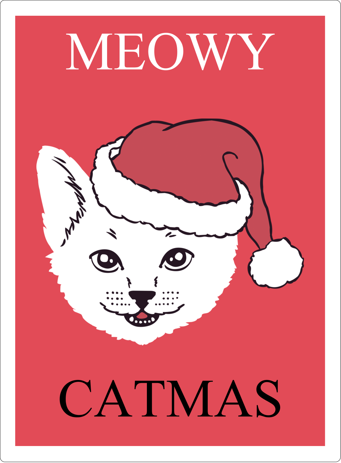 "4¾"" x 3½"" Rectangular Label - Catmas Meowy"