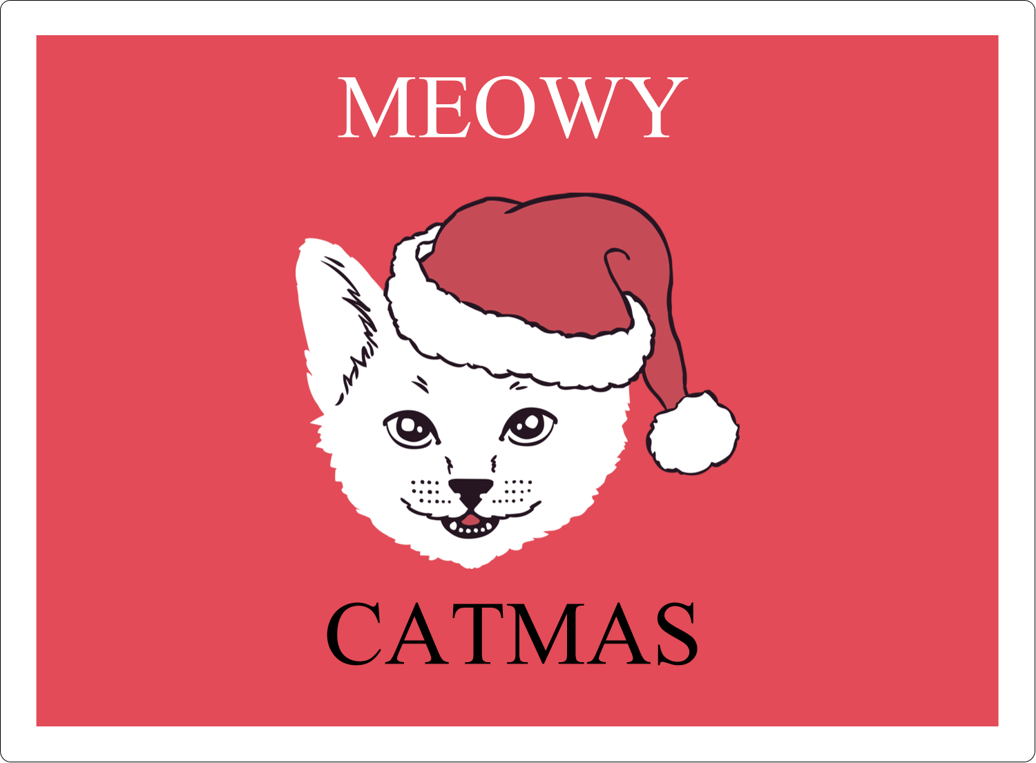 "3½"" x 4¾"" Rectangular Label - Catmas Meowy"