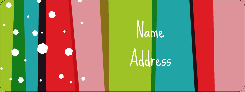 "⅔"" x 1¾"" Address Label - Christmas Retro Stripe"