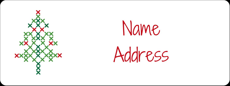 "⅔"" x 1¾"" Address Label - Cross Stitch Tree"