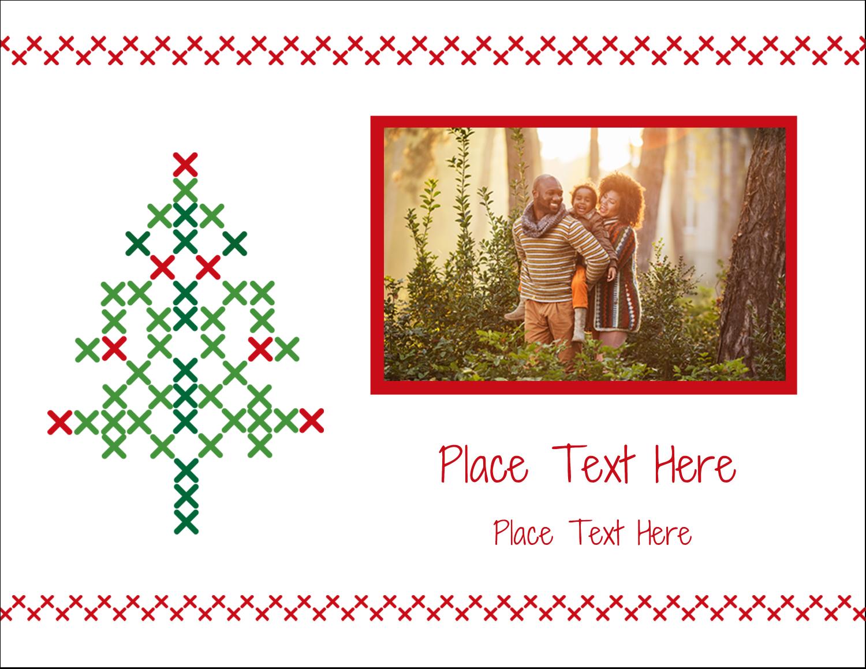 """4¼"""" x 5½"""" Postcard - Cross Stitch Tree"""