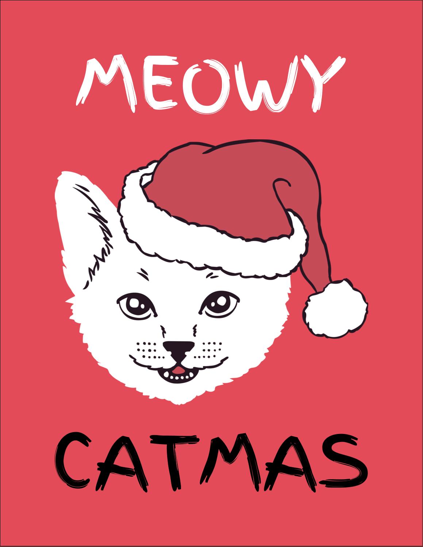 "4¼"" x 5½"" Postcard - Catmas Meowy"