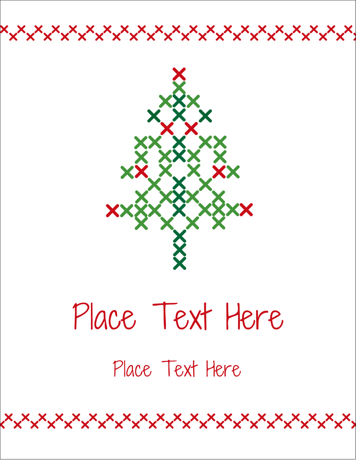 "4¼"" x 5½"" Postcard - Cross Stitch Tree"