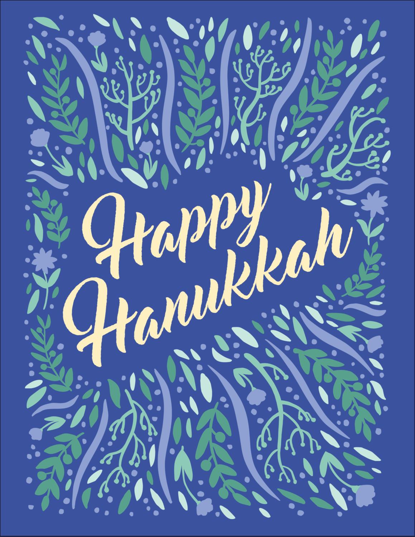 "4¼"" x 5½"" Postcard - Hanukkah Floral"