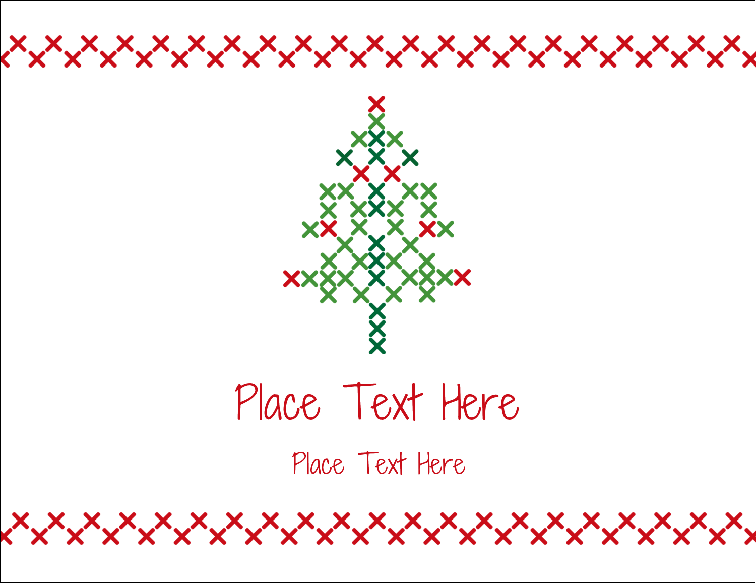 "5½"" x 4¼"" Postcard - Cross Stitch Tree"