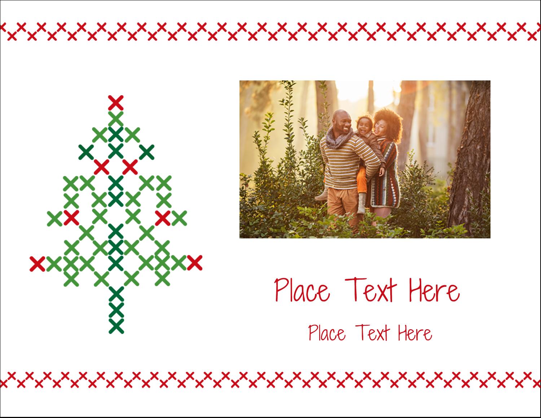 """5½"""" x 4¼"""" Postcard - Cross Stitch Tree"""