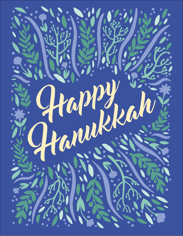 "5½"" x 4¼"" Postcard - Hanukkah Floral"