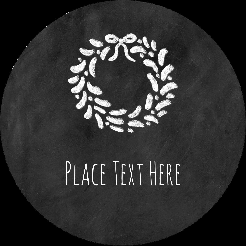 """3"""" Round Label - Chalkboard Wreath"""