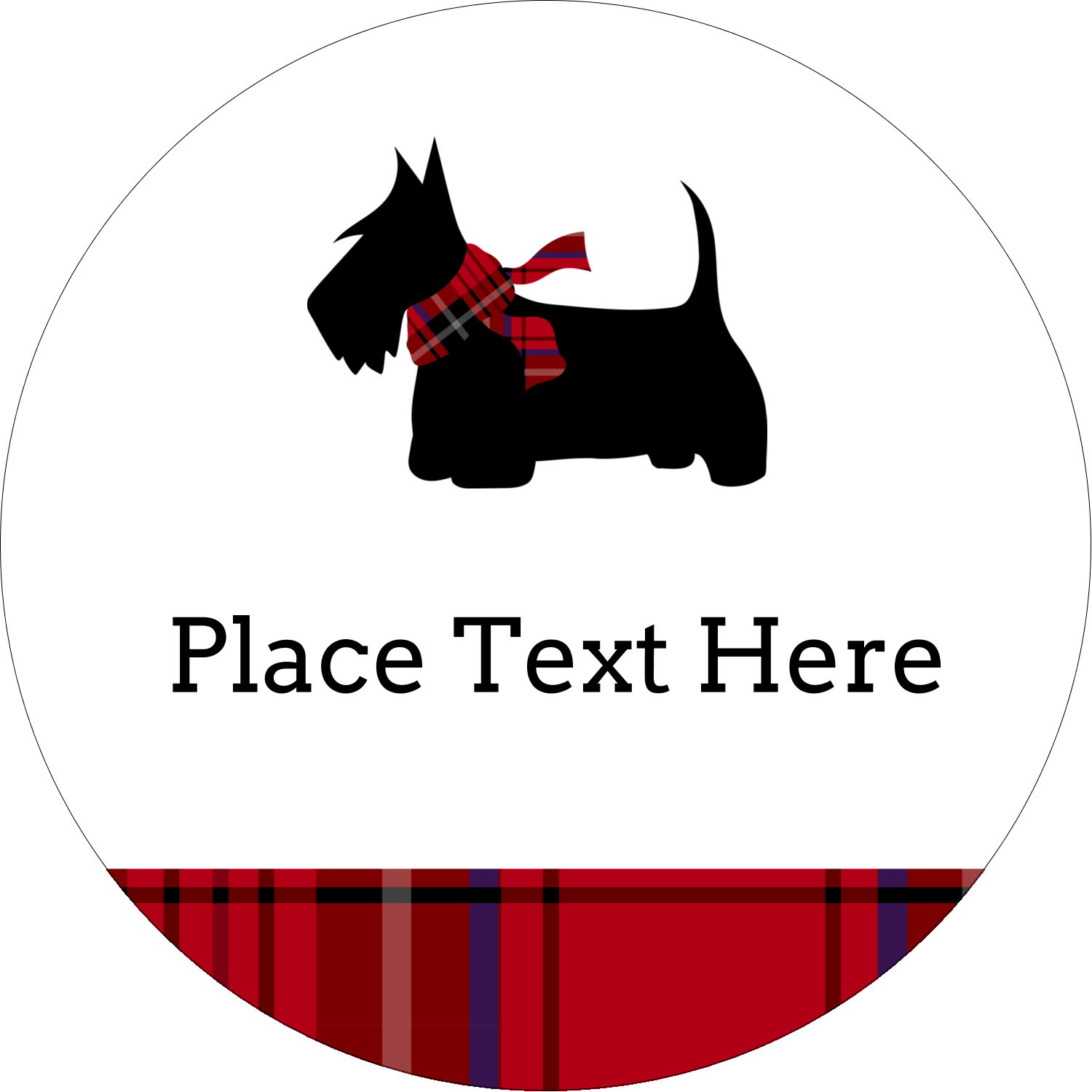 "3"" Round Label - Scottie Dog"