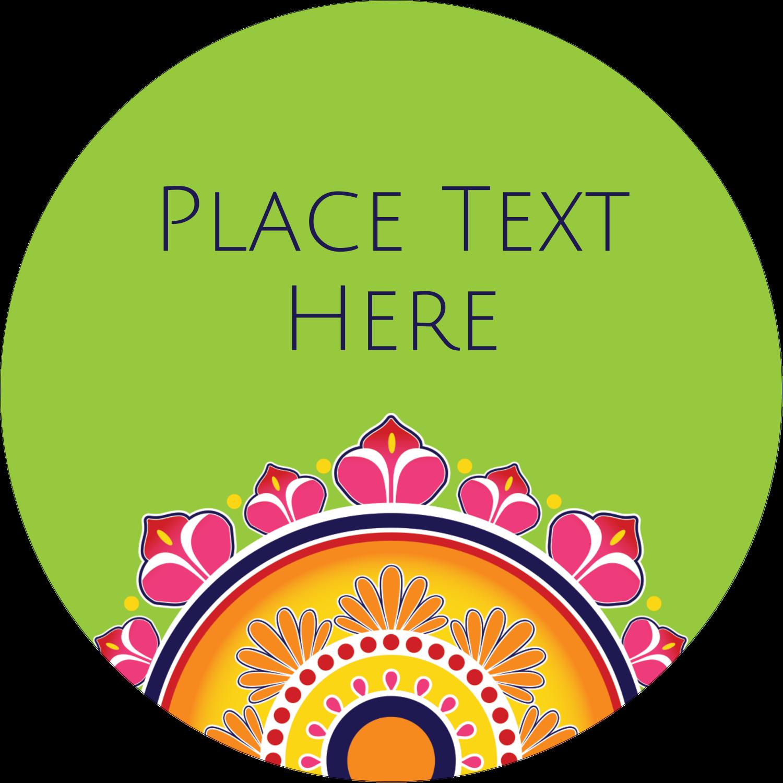 "3"" Round Label - Diwali Rangoli"