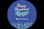 Hanoukka florale Étiquettes rondes - gabarit prédéfini. <br/>Utilisez notre logiciel Avery Design & Print Online pour personnaliser facilement la conception.