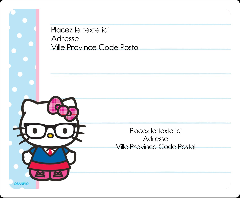 """3⅓"""" x 4"""" Étiquettes d'expédition - Hello Kitty avec des lunettes"""
