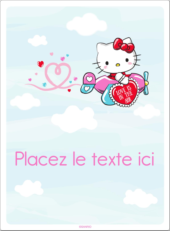 """2½"""" Diameter Étiquettes rondes - Hello Kitty Saint-Valentin - Mon cœur monte pour vous"""