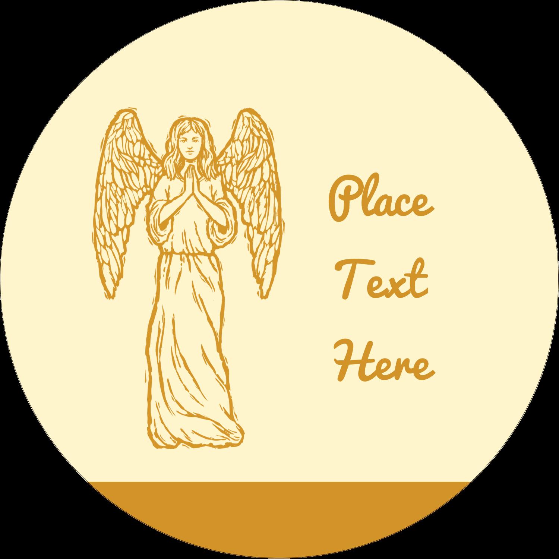 "3"" Round Label - Religious Woodcut"