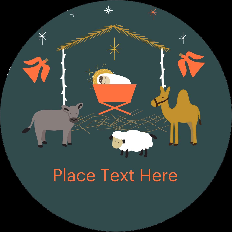 "3"" Round Label - Nativity Scene Animals"