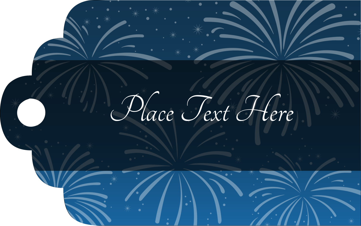 "2"" x 1⅛"" Printable Tags - New Year Blue Fireworks"