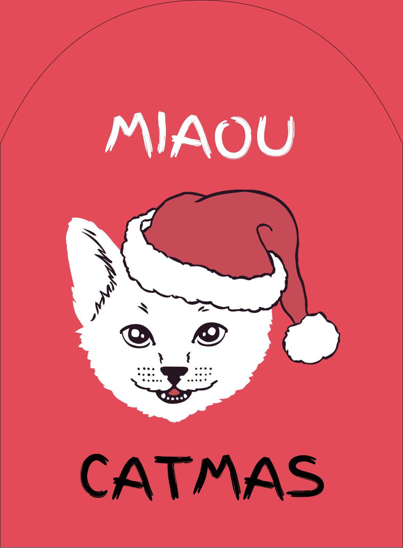 """4¾"""" x 3½"""" Étiquettes rectangulaires - Chat de Noël"""