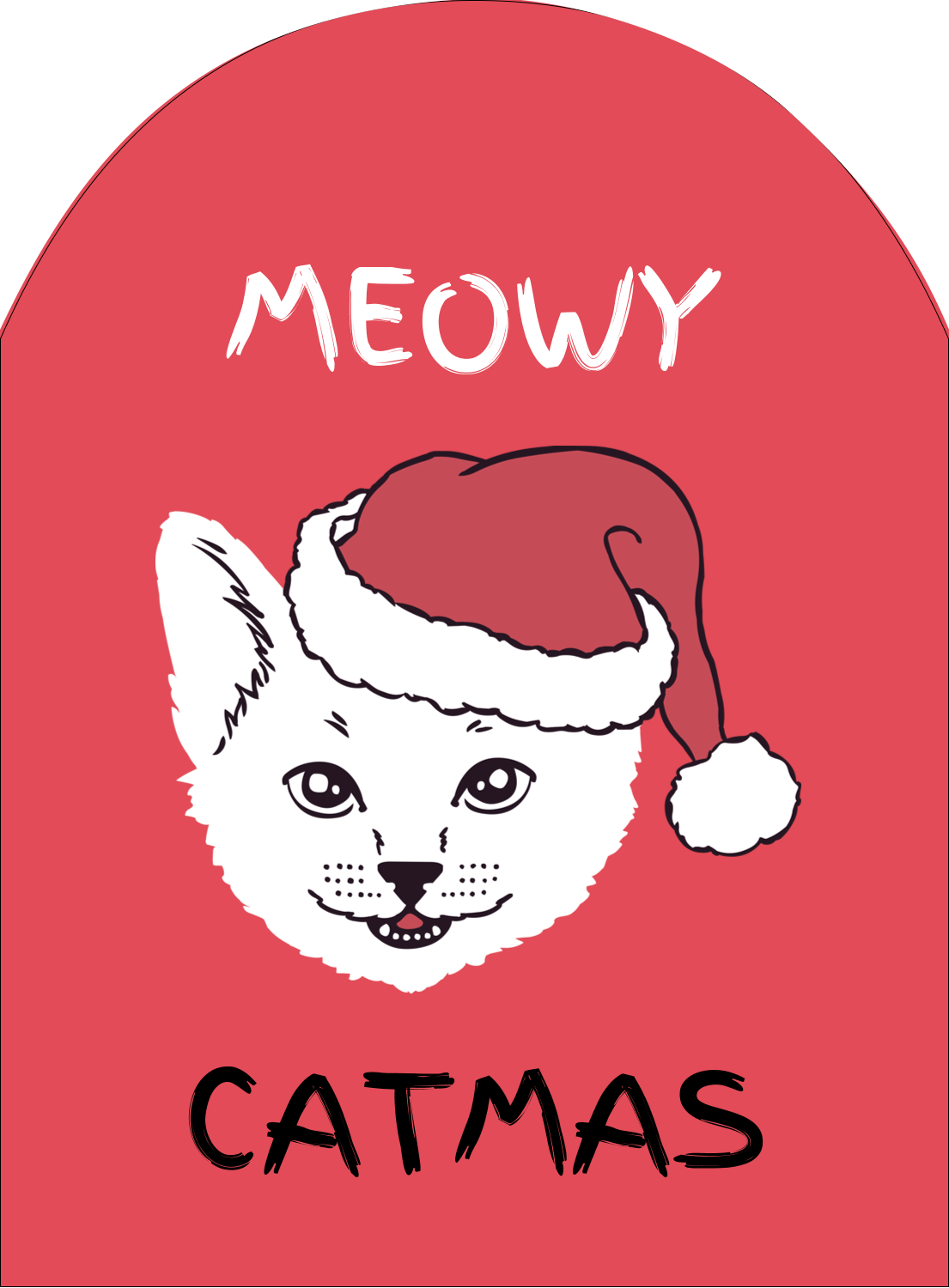 "4¾"" x 3½"" Arched Label - Catmas Meowy"