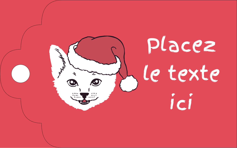 """2"""" x 1⅛"""" Étiquettes imprimables - Chat de Noël"""