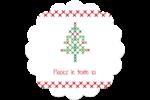 Sapin en point de croix Étiquettes rondes - gabarit prédéfini. <br/>Utilisez notre logiciel Avery Design & Print Online pour personnaliser facilement la conception.