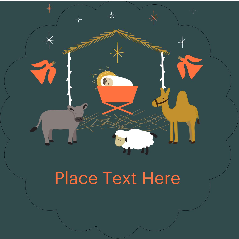 """2½"""" Scallop Labels - Nativity Scene Animals"""