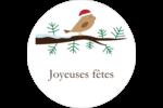 Oiseau père Noël sur une branche Étiquettes Voyantes - gabarit prédéfini. <br/>Utilisez notre logiciel Avery Design & Print Online pour personnaliser facilement la conception.