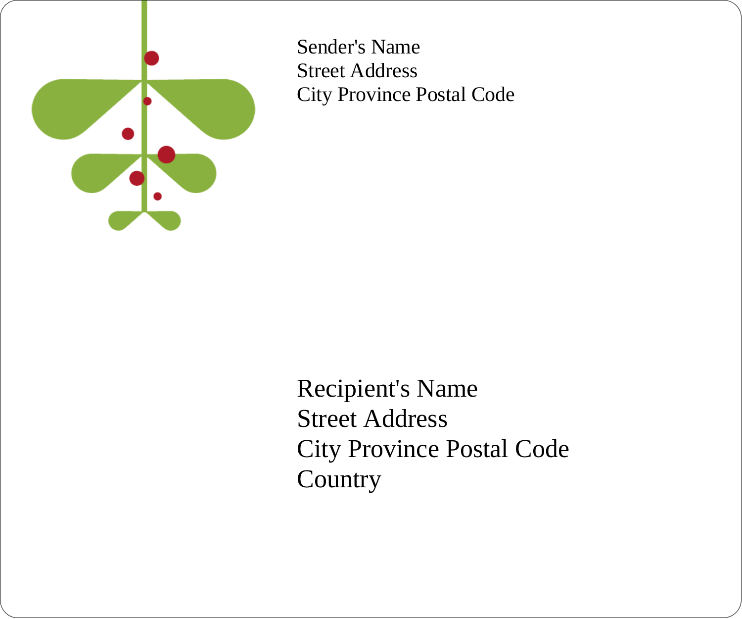 "3⅓"" x 4"" Shipping Label - Simple Mistletoe"