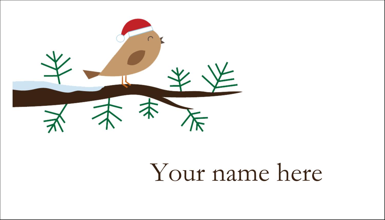 """2"""" x 3½"""" Business Card - Santa Bird on Branch"""