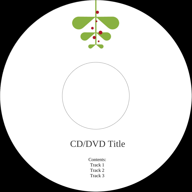 "4.65"" CD-DVD Label - Simple Mistletoe"