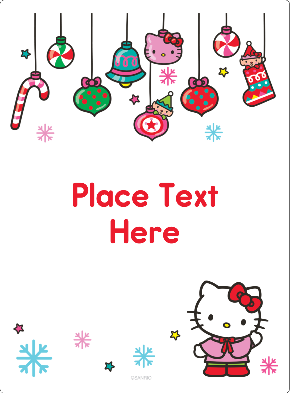 "4¾"" x 3½"" Rectangular Label - Hello Kitty Holiday"