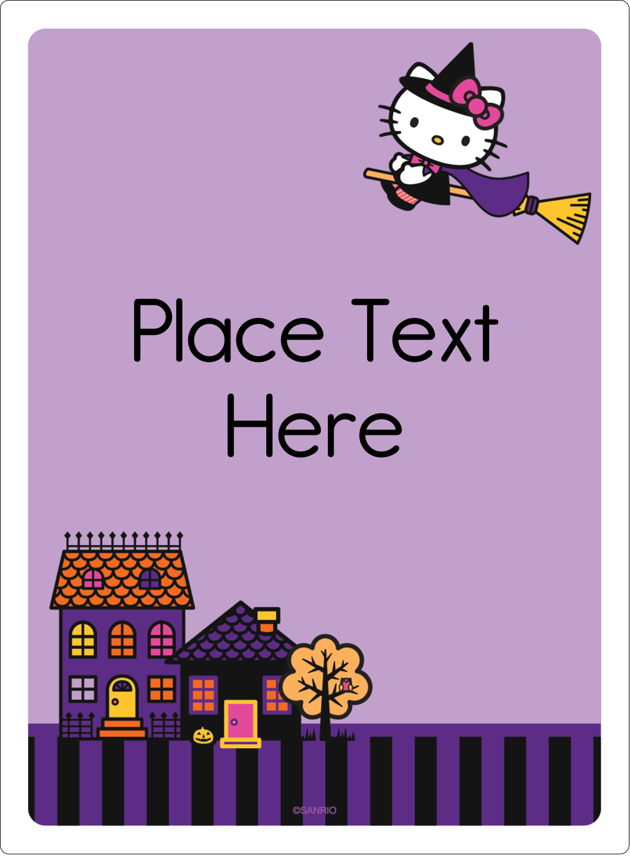 "4¾"" x 3½"" Rectangular Label - Hello Kitty Halloween"