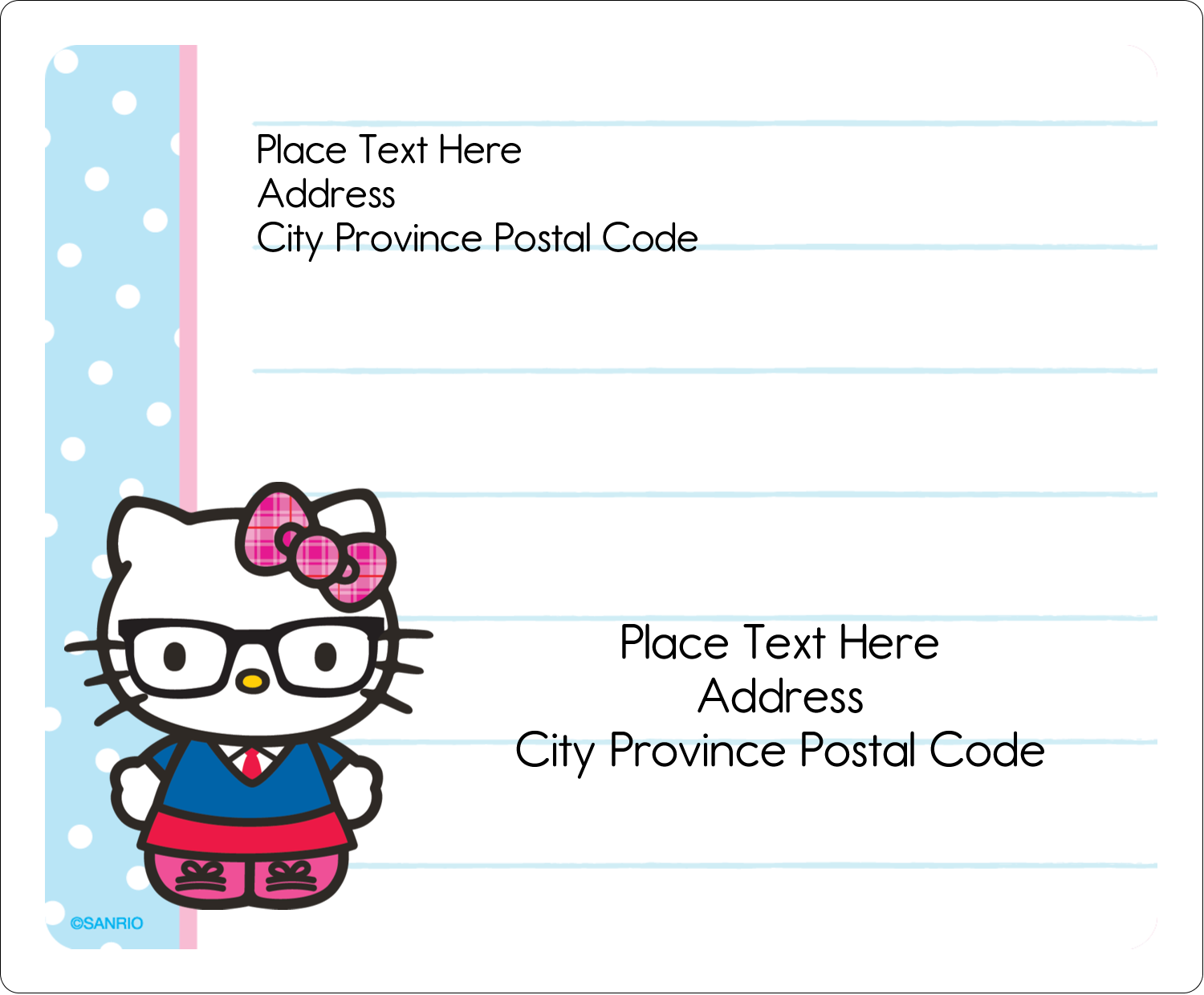 """3⅓"""" x 4"""" Shipping Label - Hello Kitty with Glasses"""
