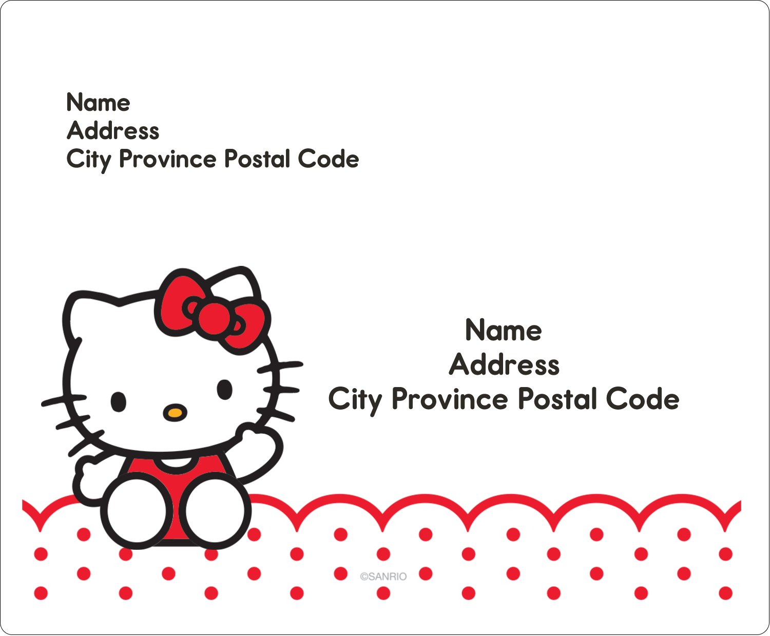 "3⅓"" x 4"" Shipping Label - Hello Kitty Waving"
