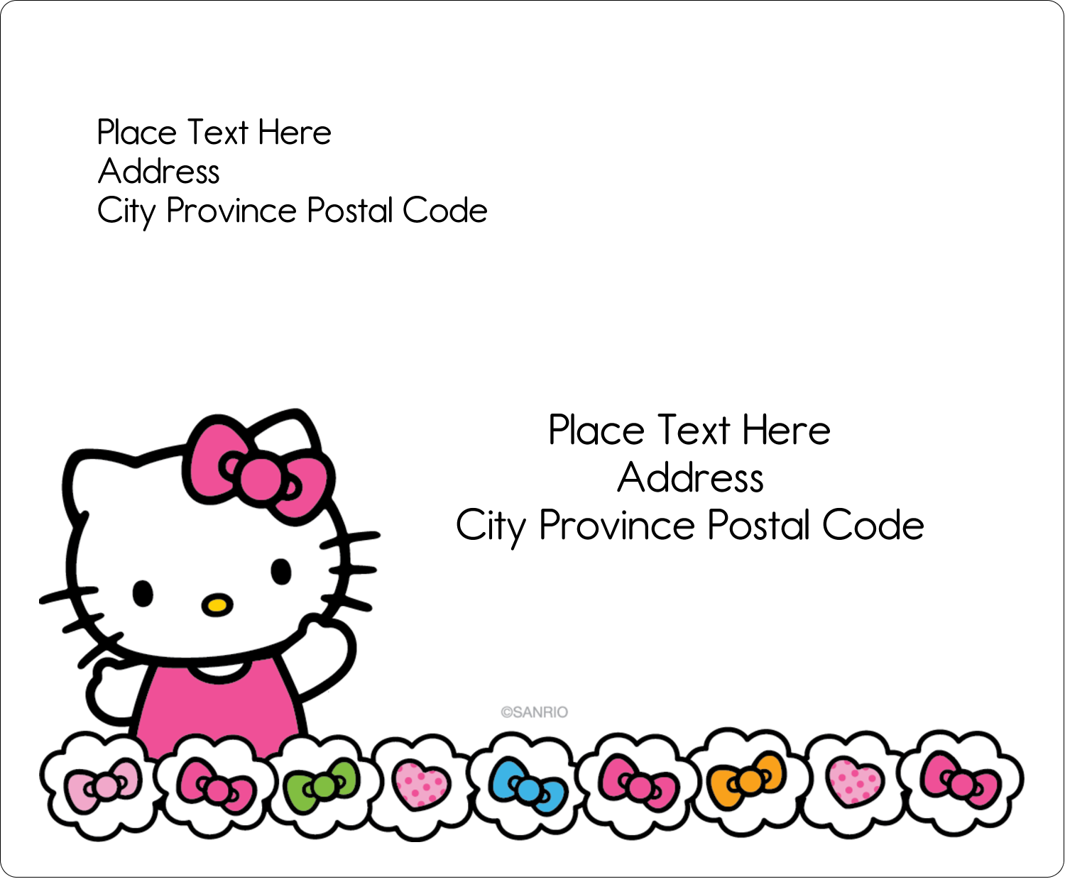 "3⅓"" x 4"" Shipping Label - Hello Kitty Hearts and Bows"