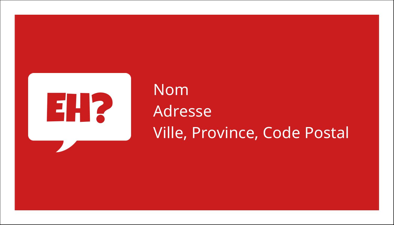 """2"""" x 3½"""" Cartes d'affaires - Parlez-vous canadien eh? (Rouge)"""