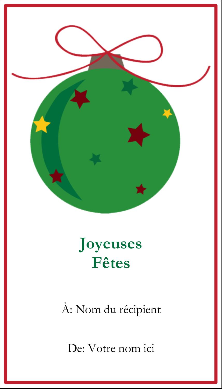 """2"""" x 3½"""" Carte d'affaire - Boule étoilée"""