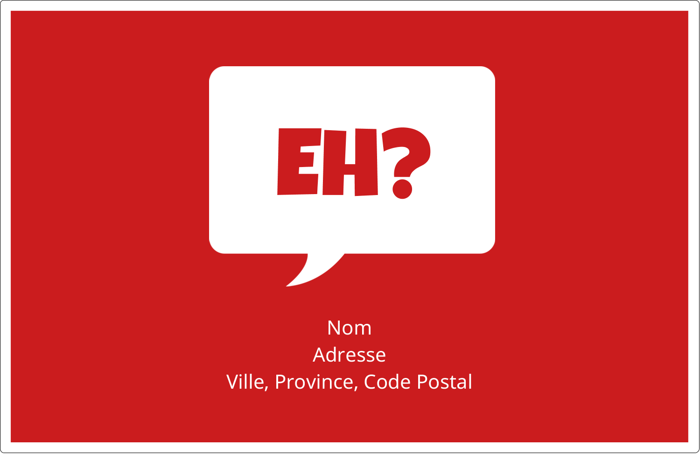 """1½"""" x 4"""" Étiquettes d'adresse - Parlez-vous canadien eh? (Rouge)"""
