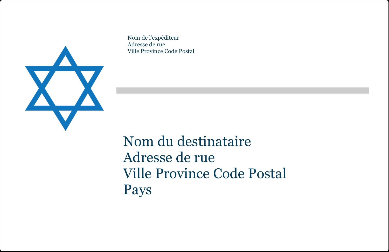 """1½"""" x 4"""" Étiquettes d'adresse - Étoile de David"""